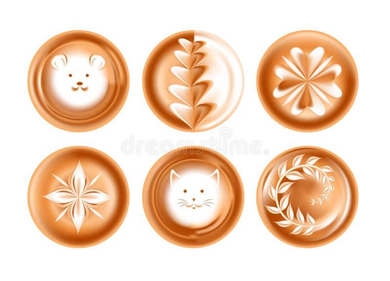 Espumam coração isolado dos ícones do vetor da bebida do café do desenho ou da imagem apresentação criativa energética e enfrenta ilustração do vetor