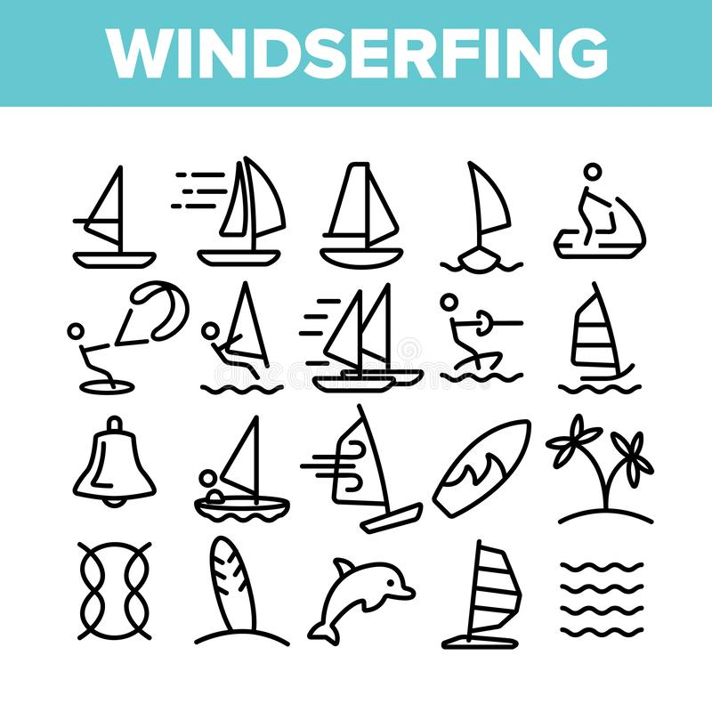Esquí acuático, sistema linear de los iconos del vector del windsurf libre illustration