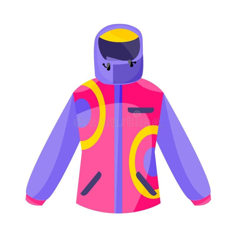 Esquí, caminando, chaqueta del deporte de invierno abajo, ejemplo plano del vector del estilo libre illustration