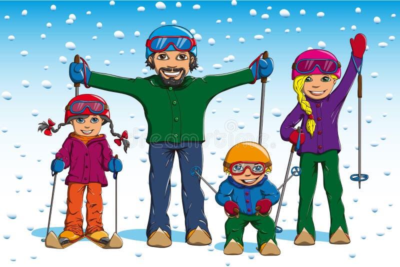 Esquí de la familia en invierno foto de archivo libre de regalías