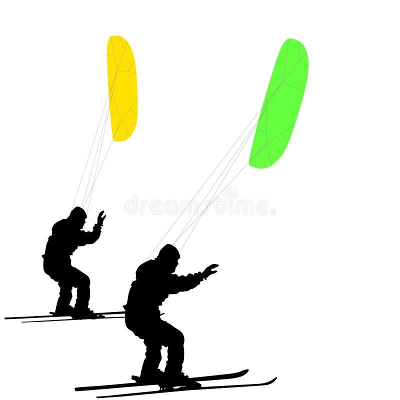 Esquí de los hombres kiting en un lago congelado Ilustración del vector ilustración del vector