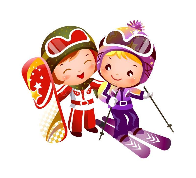 Esquí del muchacho y de la muchacha stock de ilustración