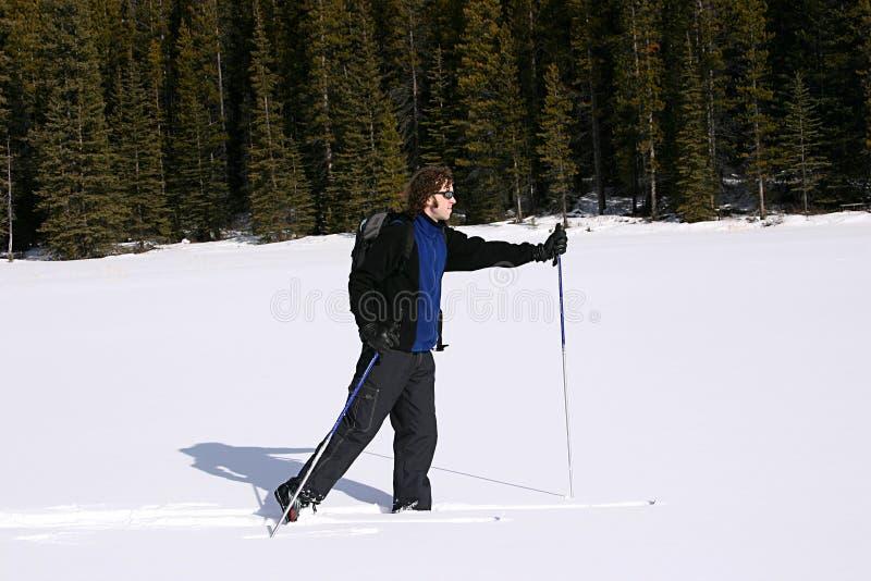 Esquí del país cruzado en las montañas imagenes de archivo