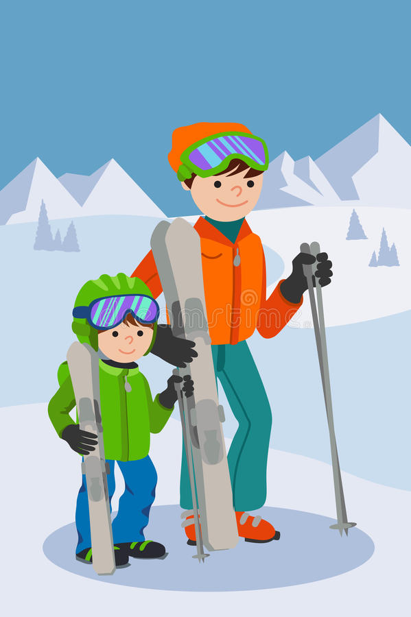 Esquí del padre y del hijo en montaña de la nieve Ejemplo del vector del deporte de invierno de la familia ilustración del vector