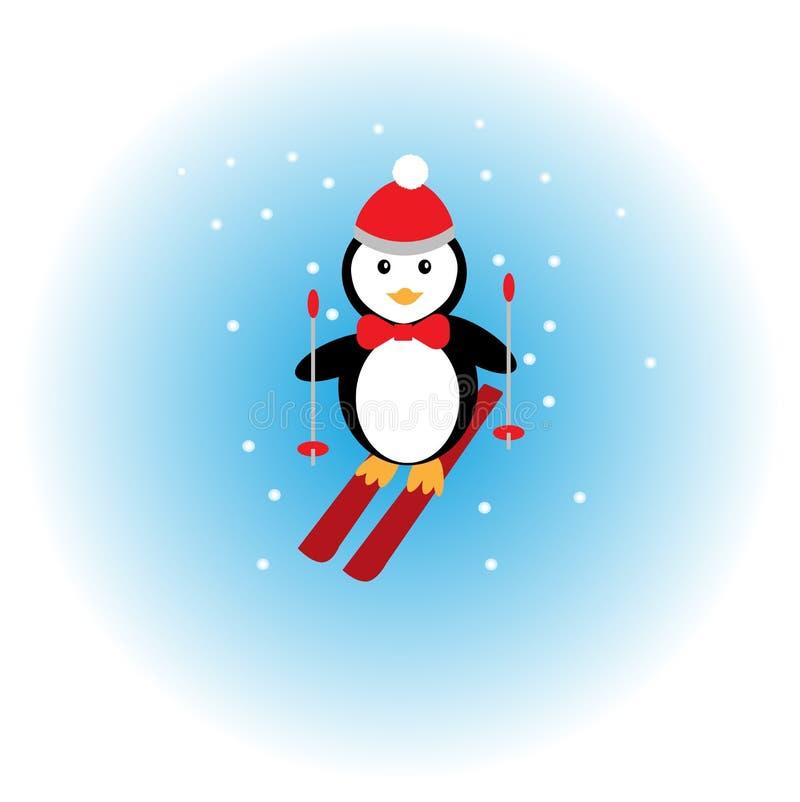 Esquí del pingüino en la nieve stock de ilustración