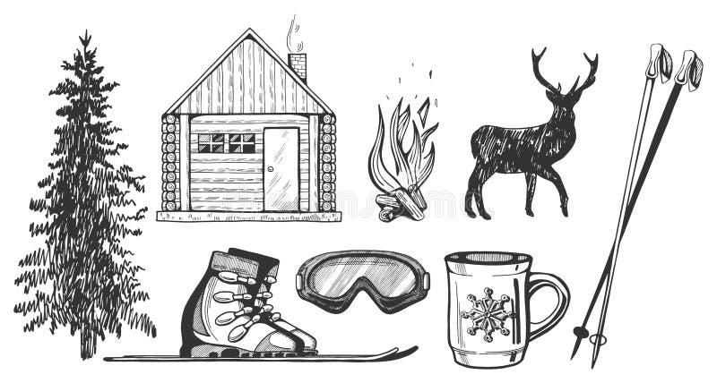 Esquí e invierno que caminan los iconos del turismo fijados libre illustration