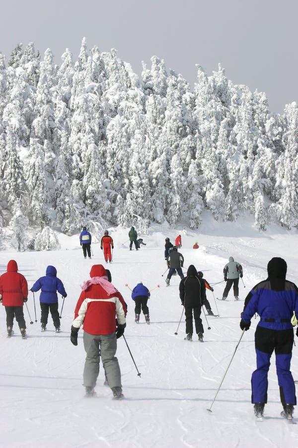 Esquí en declive frío extremo fotografía de archivo