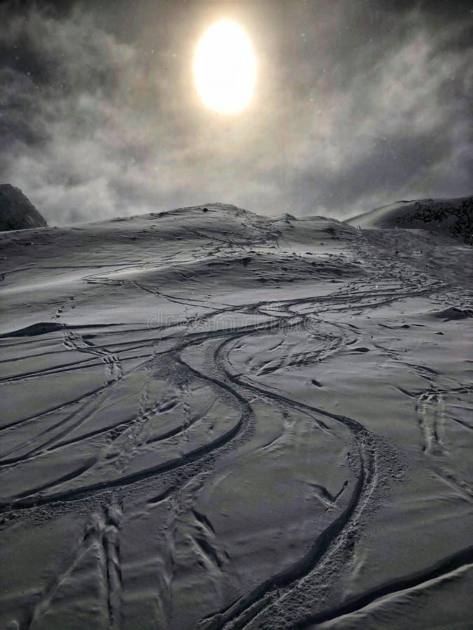 Esquí en la estación de esquí del glaciar de Stubai fotos de archivo libres de regalías