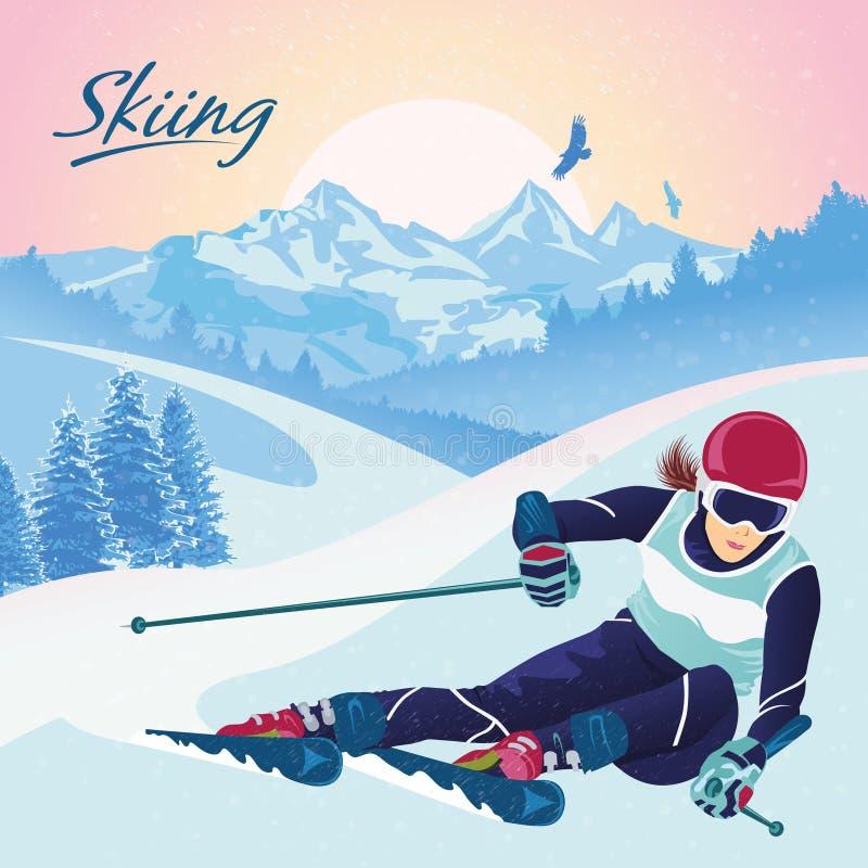 Esquí en las montañas Vector el ejemplo que promueve la reconstrucción, deportes, el turismo y el viaje ilustración del vector