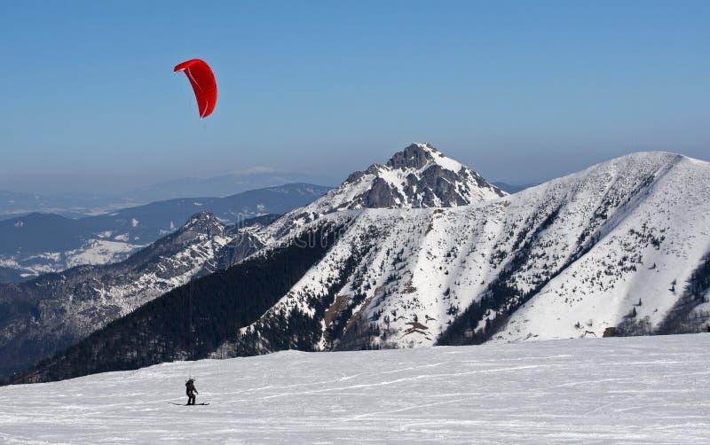 Esquí kiting imagen de archivo libre de regalías