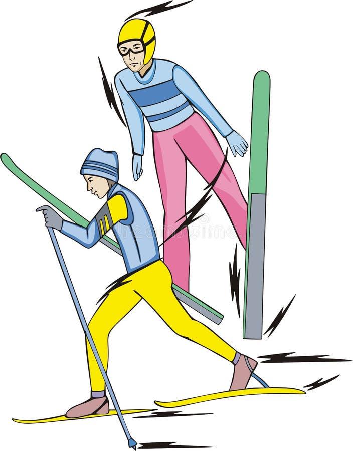 Esquí. Nórdico combinado stock de ilustración