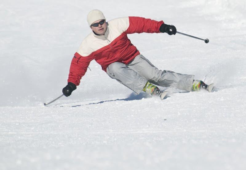 Esquí perfecto cuesta abajo imagenes de archivo