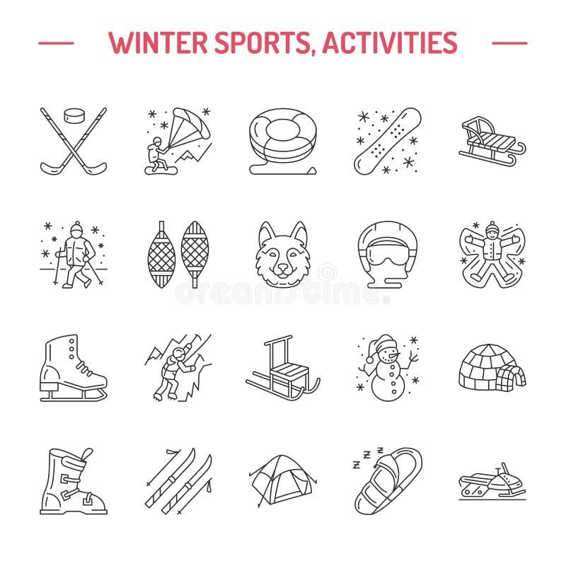 Esquí, snowboard, patines, tubería, hielo línea icono del deporte de invierno kiting, el subir y otro stock de ilustración
