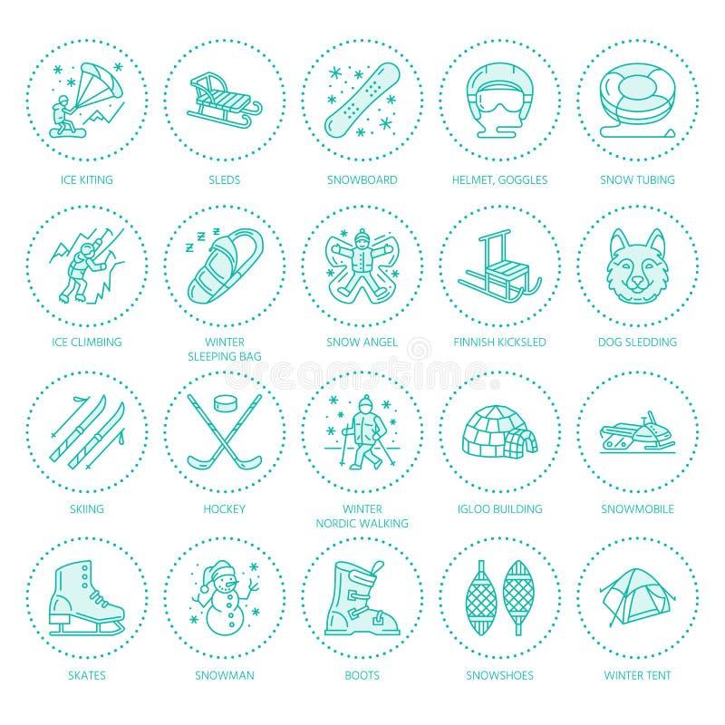 Esquí, snowboard, patines, tubería, hielo línea iconos del deporte de invierno kiting, el subir y otro La actividad al aire libre ilustración del vector
