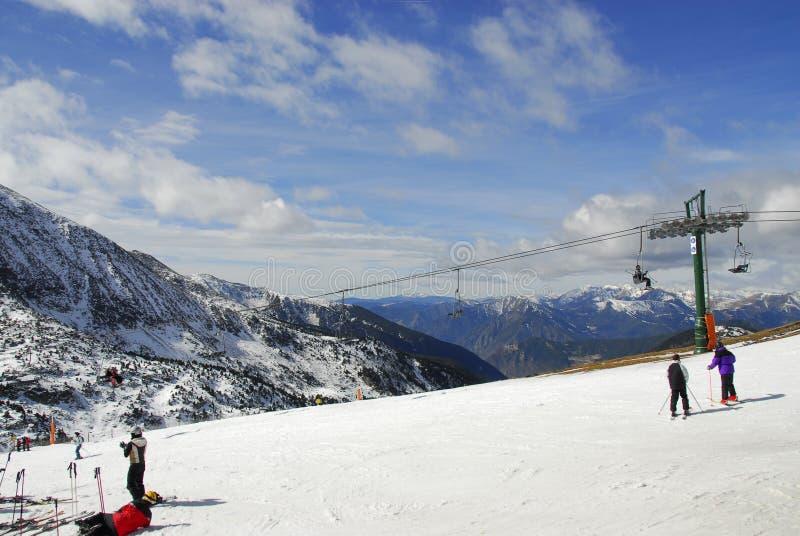 Esquíe en Pas de La Casa, Andora. foto de archivo