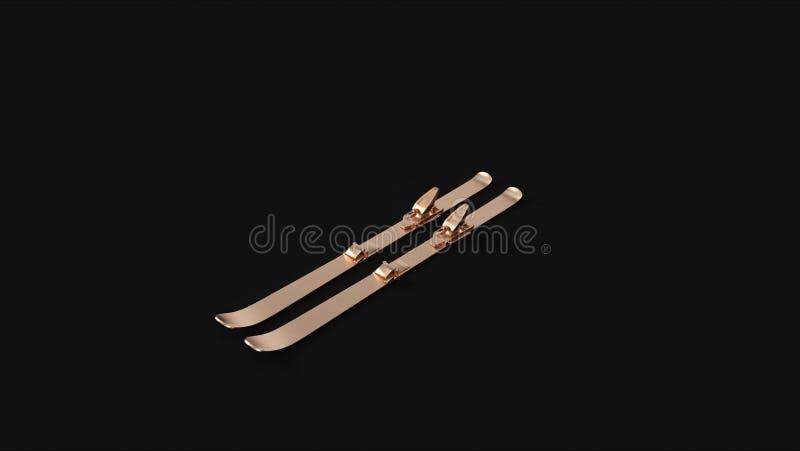Esquís de cobre amarillo de bronce stock de ilustración