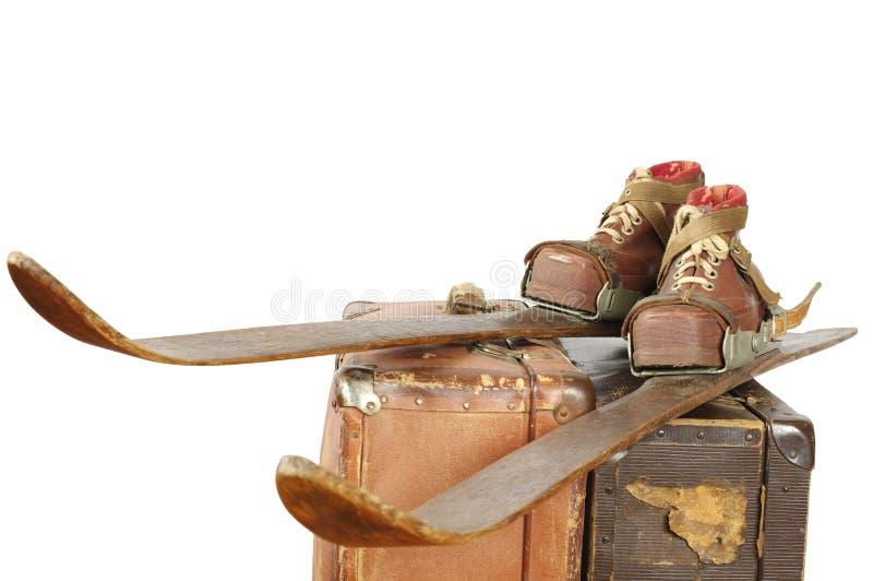 Esquís y deportes del vintage de las botas imagen de archivo