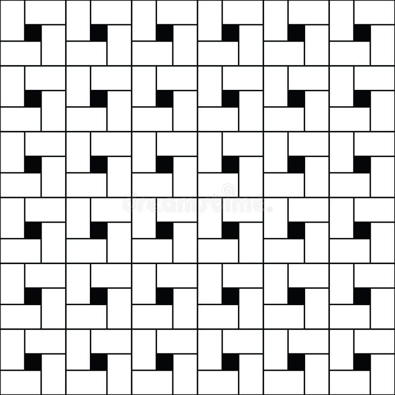 Esquadra o vetor do tessellation O branco repetido verifica a sequência no fundo preto Projeto de superfície do teste padrão com  ilustração stock