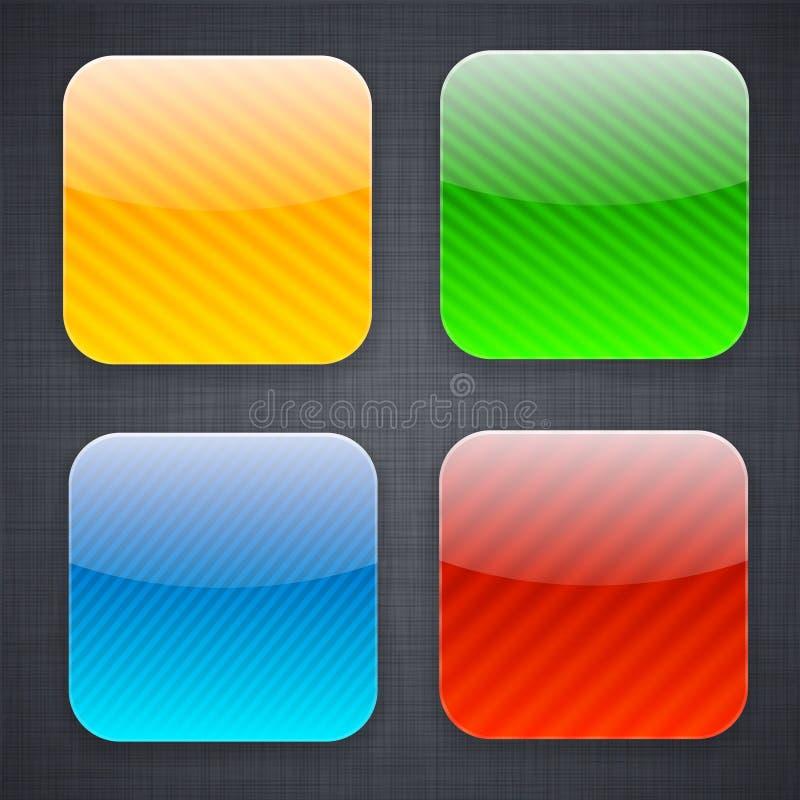 Esquadre ícones listrados do molde do app. ilustração do vetor