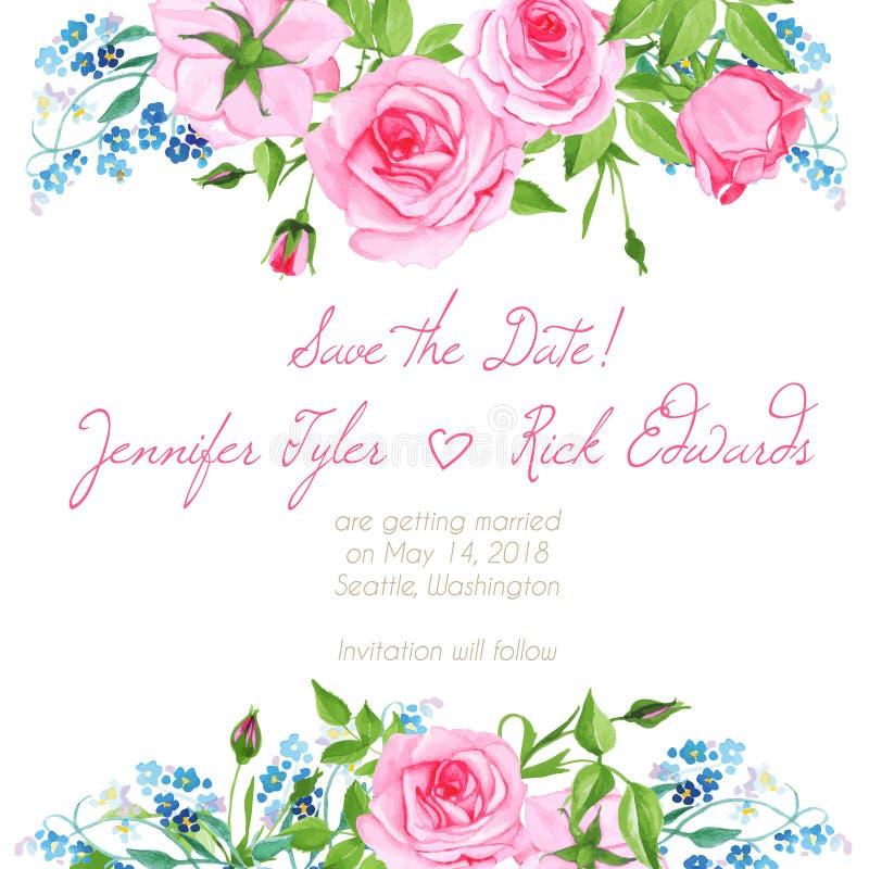 Esqueça me não e o elemento do vetor do quadro do design floral das rosas ilustração do vetor