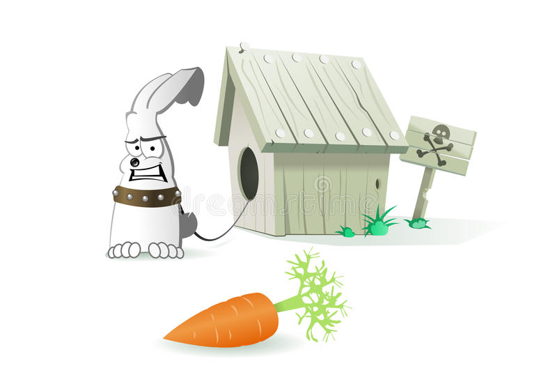 Esqueça que o cão beware do coelho ilustração do vetor
