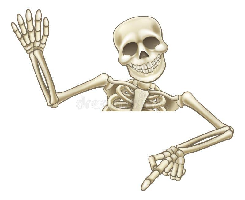 Esqueleto apontando e de ondulação dos desenhos animados ilustração do vetor