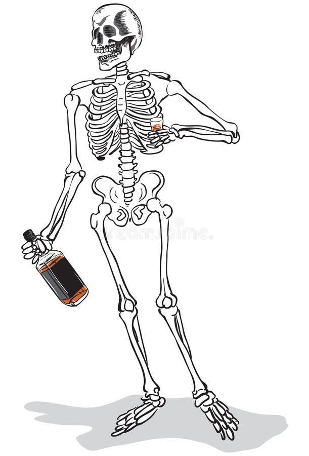 Esqueleto bêbedo ilustração stock