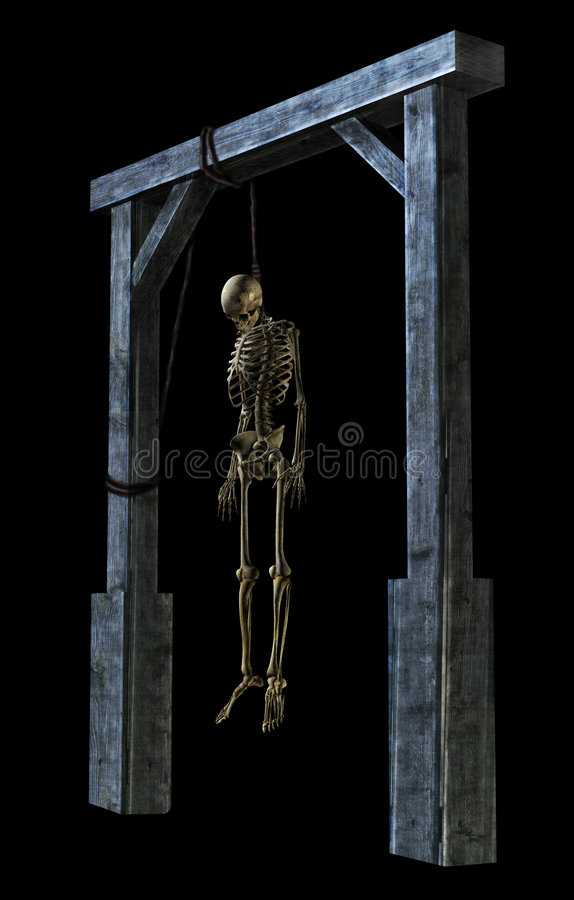 Esqueleto colgante en negro libre illustration
