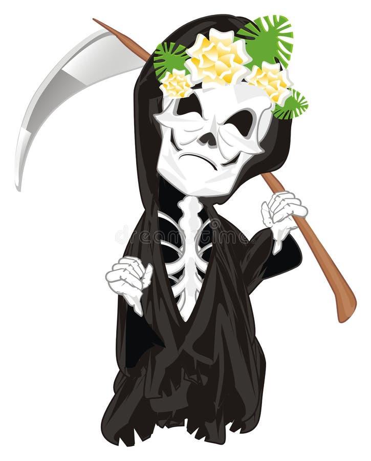 Esqueleto com flores ilustração do vetor