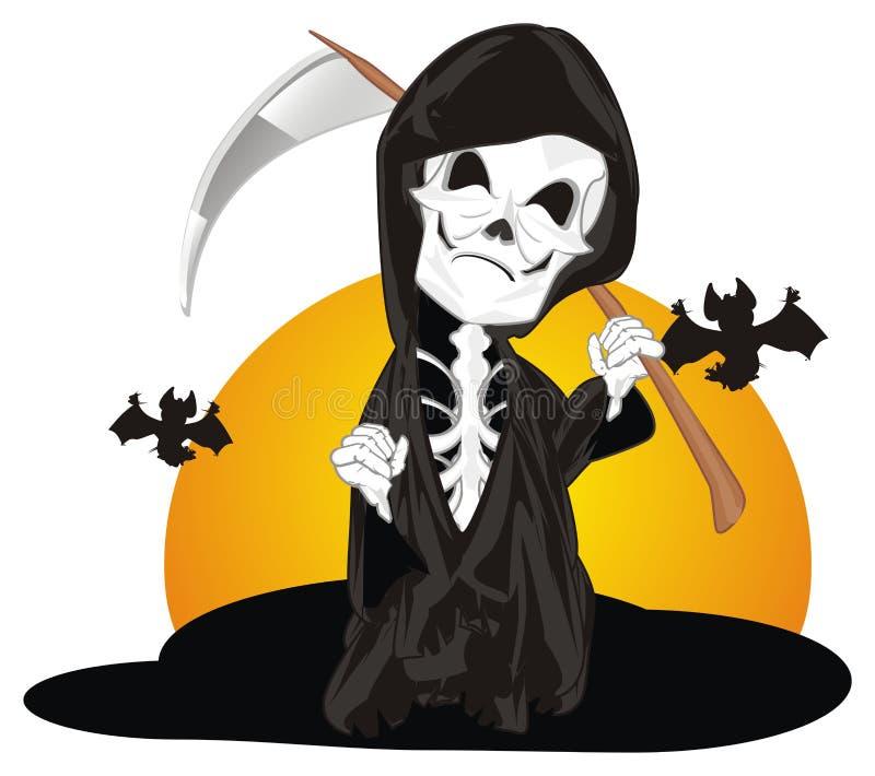 Esqueleto com nascer do sol e bastões ilustração royalty free