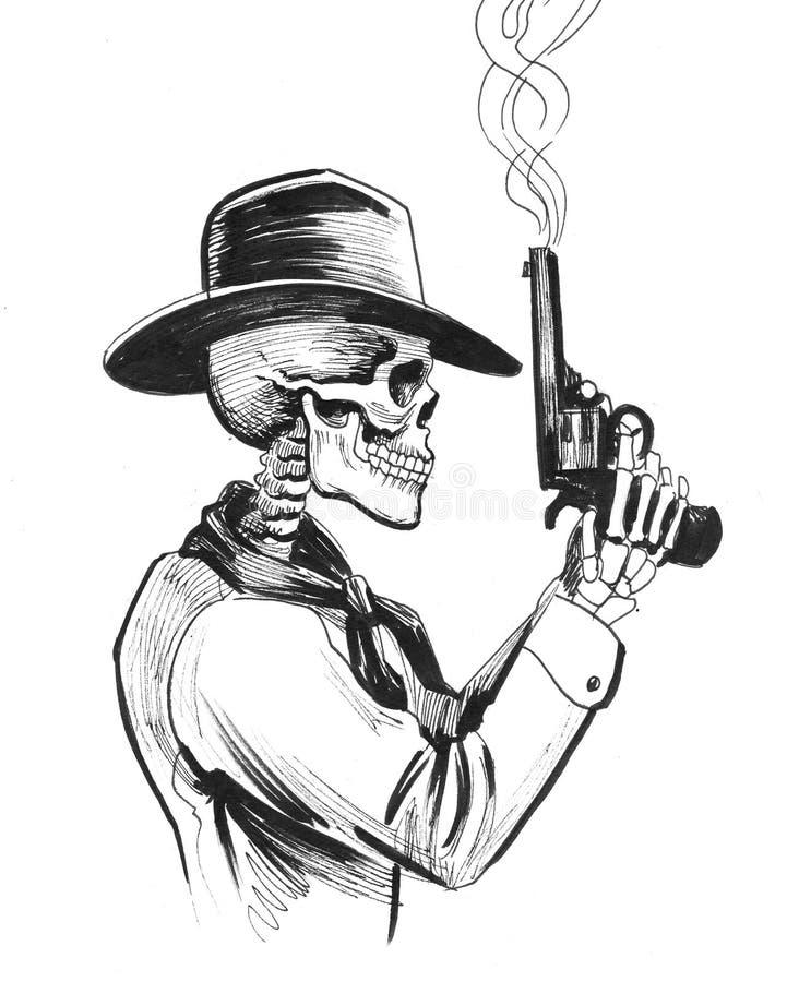 Esqueleto com uma arma ilustração do vetor