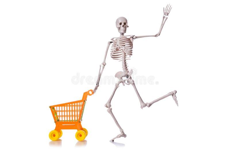 Esqueleto con la carretilla del carro de la compra aislada foto de archivo libre de regalías