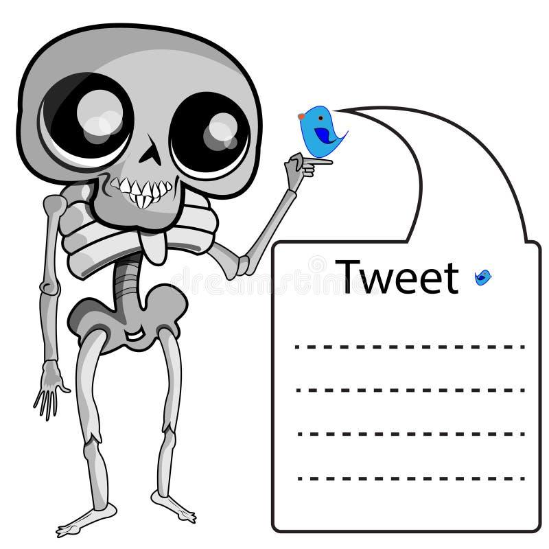 Esqueleto con la etiqueta ilustración del vector. Ilustración de ...