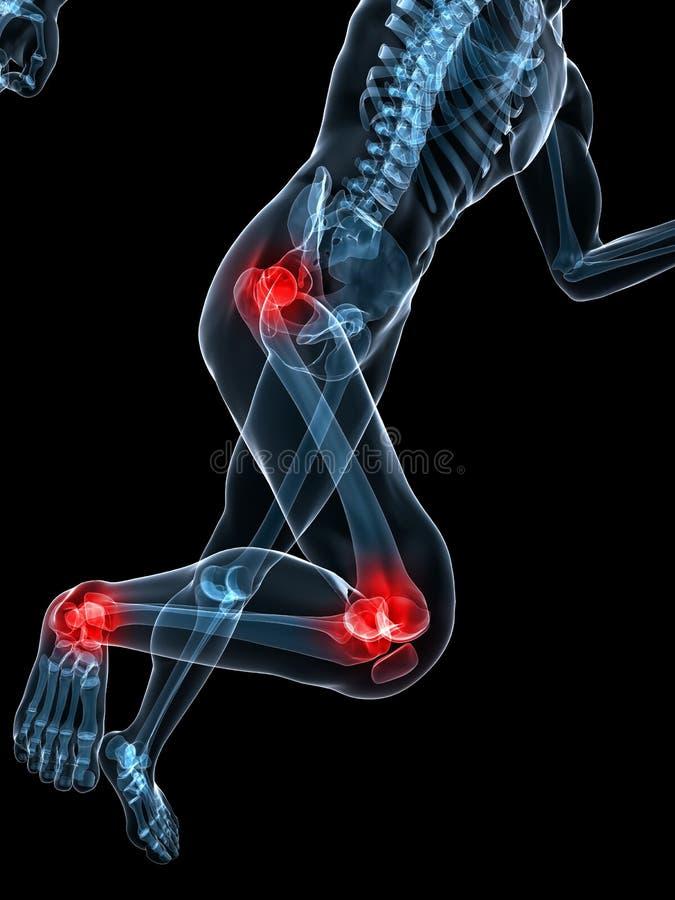 Esqueleto corriente - rodilla y cadera dolorosas stock de ilustración