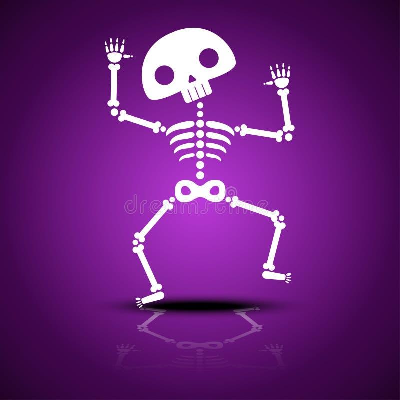 Esqueleto da dança dos desenhos animados com reflexão em um fundo roxo para o partido de Dia das Bruxas ilustração stock