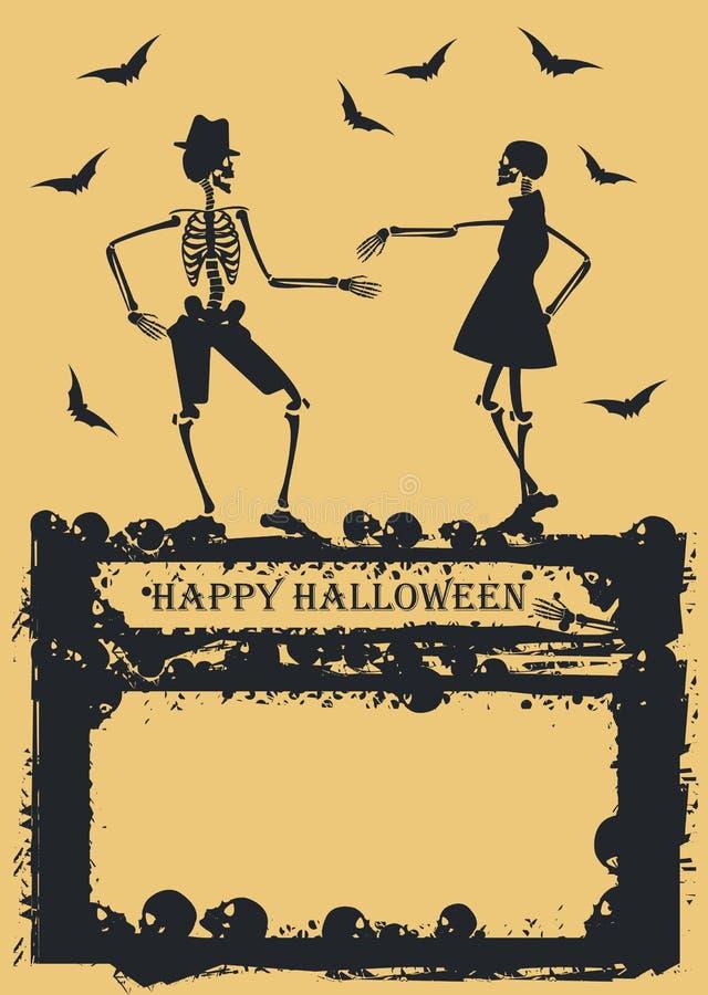 Esqueleto da dança no fundo amarelo ilustração royalty free