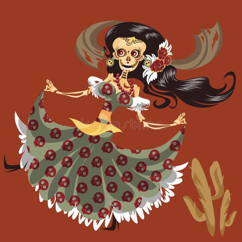 Esqueleto da mulher no cartaz místico da dança do vestido ilustração royalty free