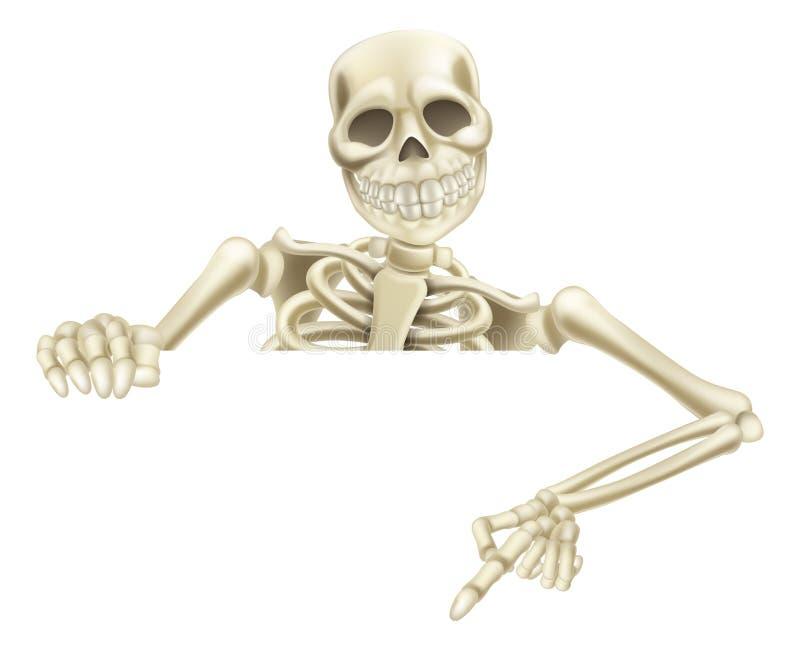 Esqueleto de Dia das Bruxas que aponta para baixo ilustração royalty free