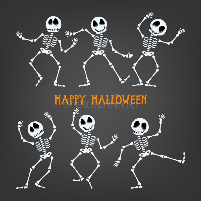 Esqueleto de Halloween con expresiones clasificadas ilustración del vector