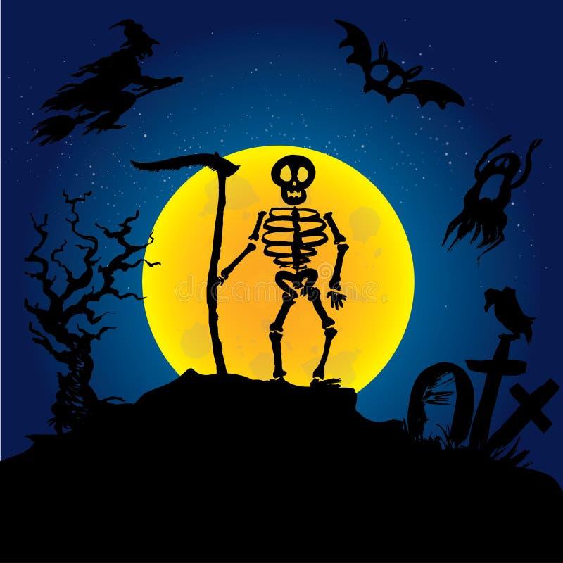 Esqueleto de Halloween en un cementerio libre illustration