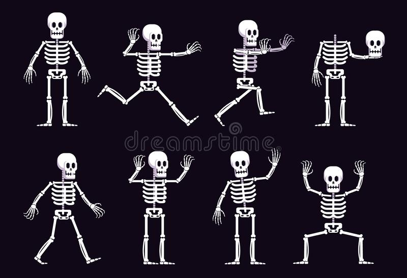 Esqueleto de la historieta de Halloween en diversa posición stock de ilustración