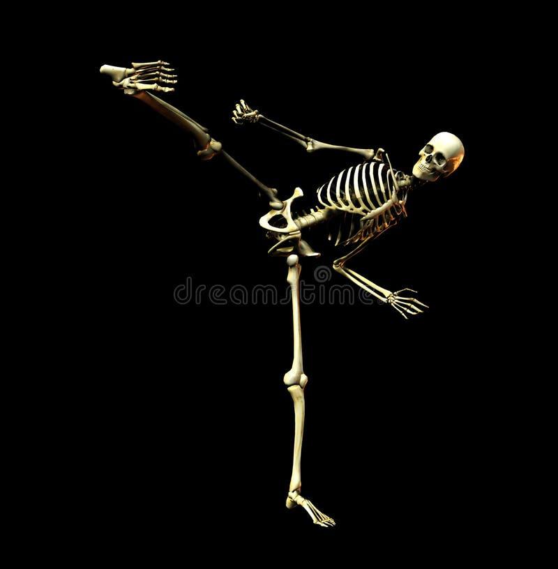 Esqueleto de la lucha ilustración del vector