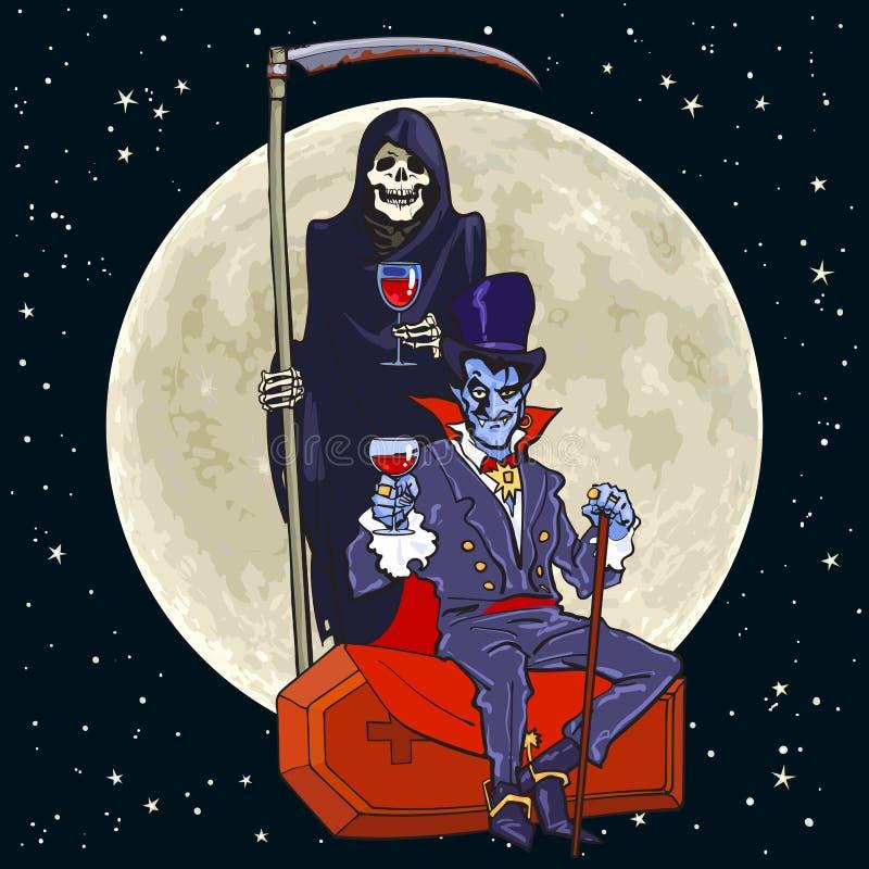 Esqueleto de la muerte de la historieta y vampiro de Drácula en fondo de la Luna Llena ilustración del vector