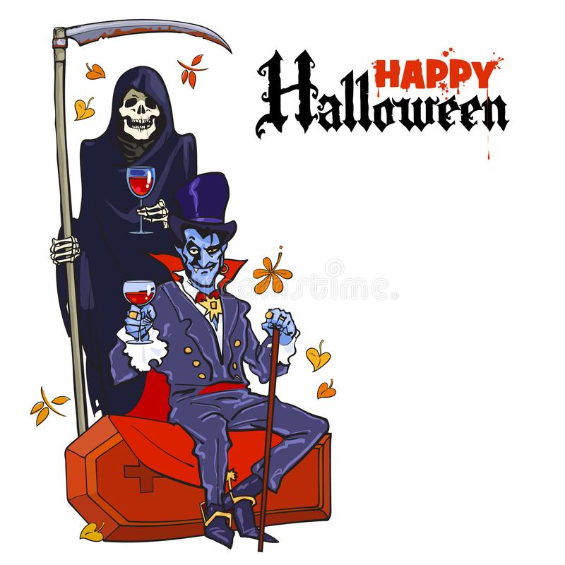 Esqueleto de la muerte y vampiro de Drácula Caracteres de Halloween en estilo de la historieta Cartel feliz de Víspera de Todos l stock de ilustración