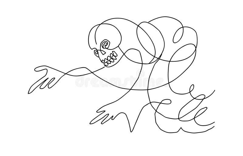 Esqueleto de la silueta del vector ilustración del vector