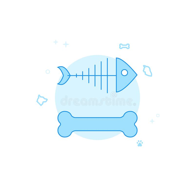 Esqueleto de los pescados, ejemplo plano del vector del hueso de perro, icono Diseño monocromático azul claro Movimiento Editable stock de ilustración