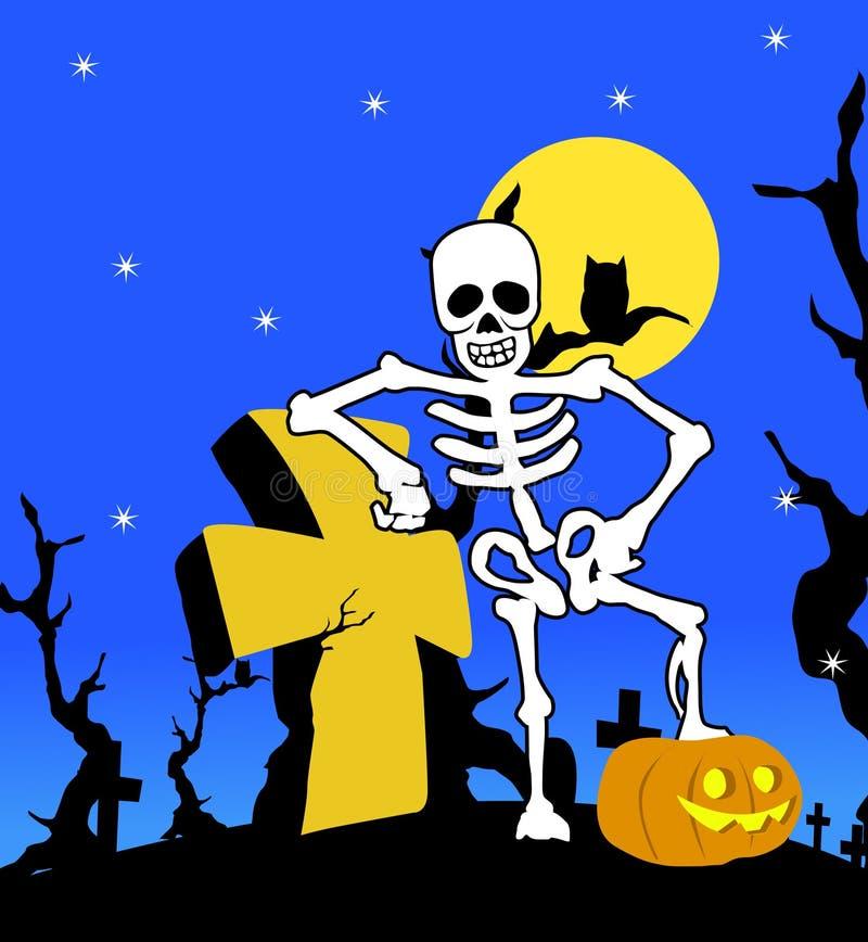 Esqueleto de Víspera de Todos los Santos con la cruz ilustración del vector