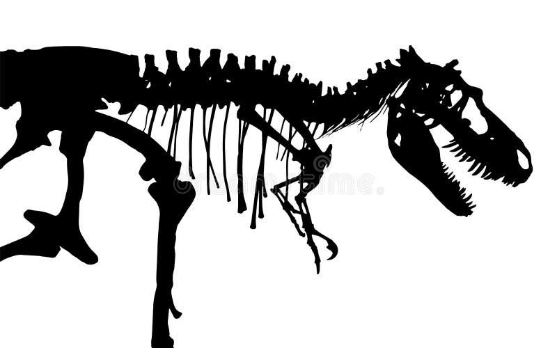 Esqueleto del rex del tiranosaurio Vector de la silueta Vista lateral stock de ilustración