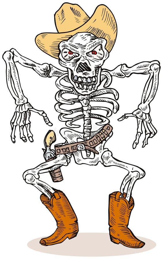 Esqueleto do cowboy ilustração royalty free