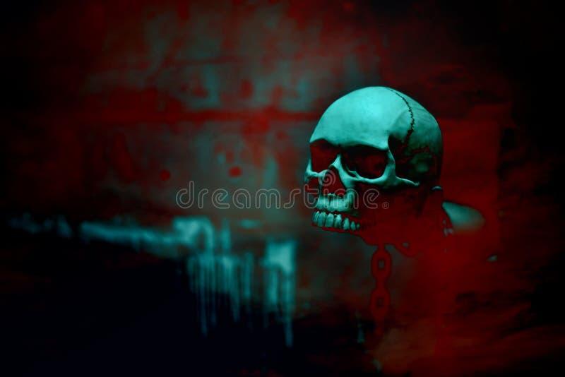 Esqueleto do crânio com a corrente no fundo vermelho do sangue, o d de Dia das Bruxas fotos de stock